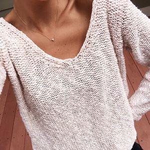 Zara Baby Pink Knit V Neck Metallic Chunky Sweater